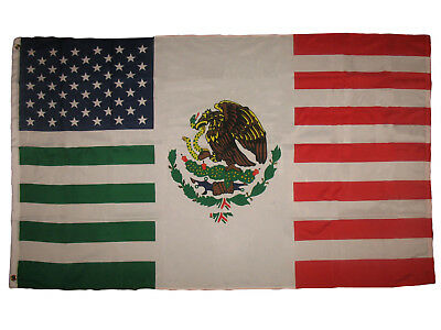 3x5 USA Mexico Combination Flag Mexican American Friendship 3'x5' Flag Grommets