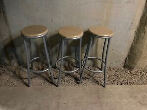 Bar stools, wood seat and metal legs - three for $20