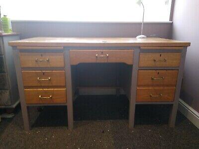 Vintage Oak Desk, pale grey frame, with key original handles