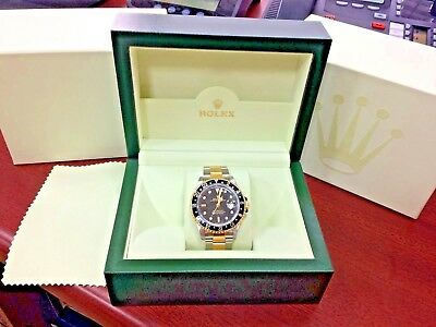 Vintage Rolex GMT-Master II 16713 Two-Tone 18K Yellow Gold SS, Black Watch w Box