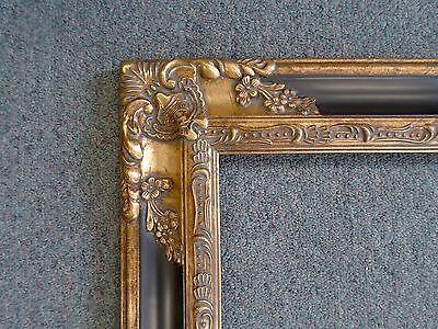 Picture Frame- Vintage Antique Ornate Dark Gold Bronze & Black Classic- 8 x 10