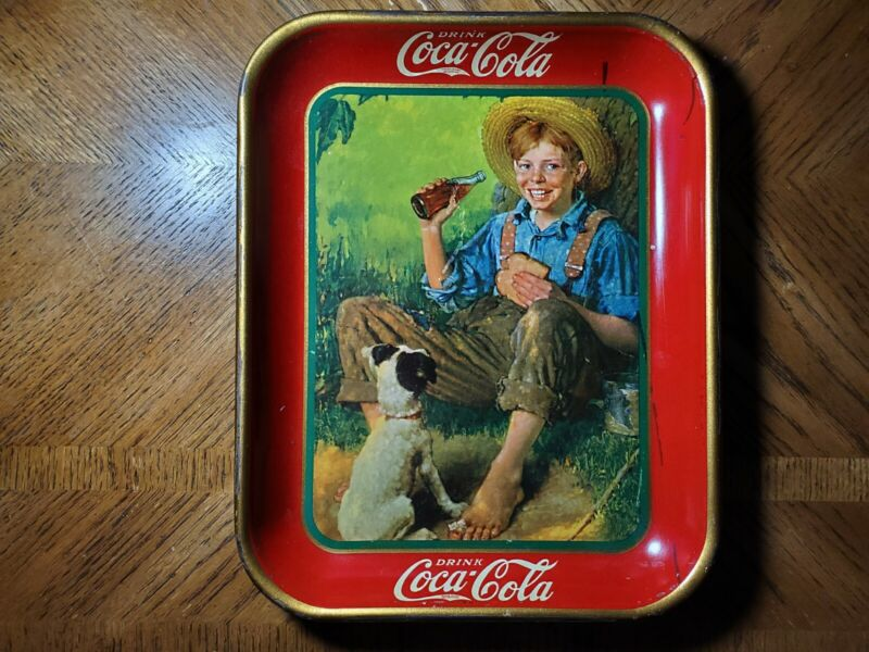 Coca Cola 1931 Barefoot Boy & Dog Serving Tray Norman Rockwell Coshocton OH