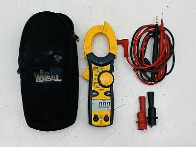 Ideal 61-744 600 Amp Clamp Meter Voltage Indicator Hook Tip Auto Power With Case