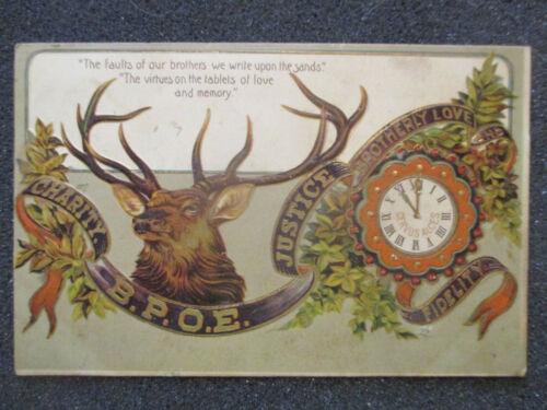 1908 EMBOSSED POSTCARD: B.P.O.E. BENEVOLENT & PROTECTIVE ORDER OF ELKS. LODGE