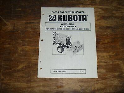 Kubota G2500 G2505 Snowblower Parts Catalog Shop Service Repair Manual