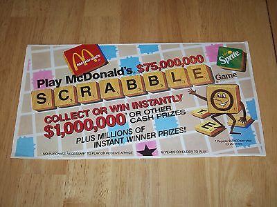 Vintage McDonald's Scrabble Game Board 1989