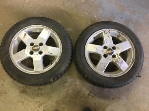185/60R15 2 new tires on 2 Chevy Aveo rims 4X100 $200