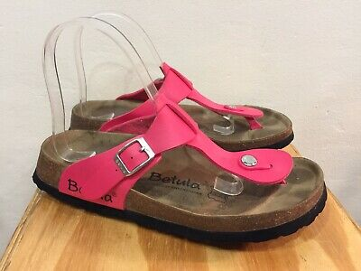 $120❤️ Birkenstock Betula Gizeh T Strap Sandals Hot Pink 38 7 7.5 Cute Color!