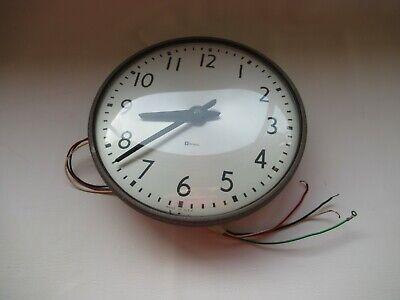"Vintage Simplex Glass Dome Industrial School Wall Clock 13"" - Brown Type 7542"