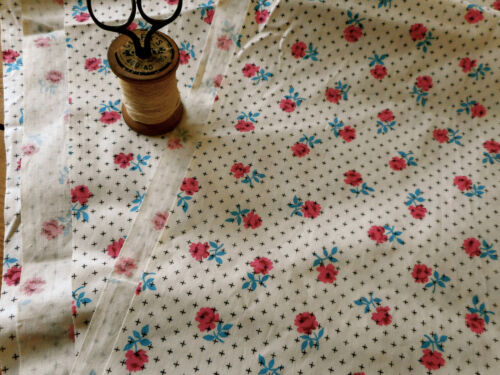Vintage Floral Roses Cotton Fabric ~ Pink Blue Black ~ small scale ~dolls quilts
