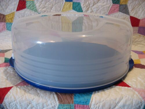 "TUPPERWARE Pie Taker~BAKE N TAKE 12"" Round 3539 Blue Party Tray 3062 +Handle NEW"