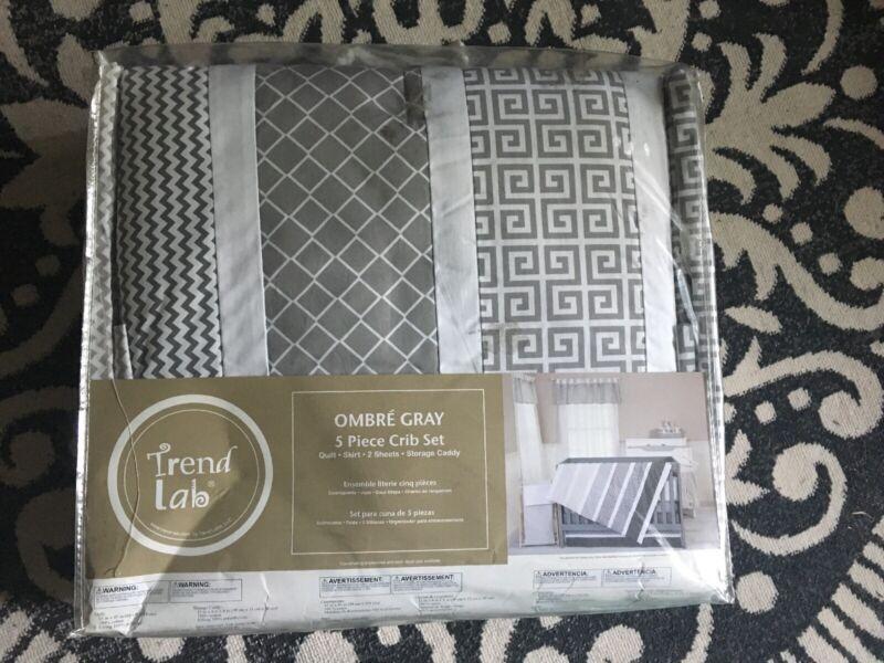 Trend Lab Ombre Gray 5 Piece Crib Set - 102717 NEW