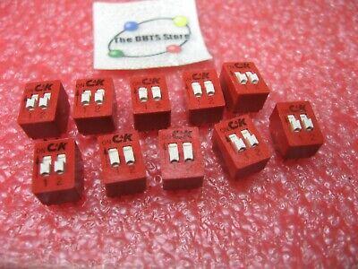 Dip Switch Ck Bd02 2 Position Spst Through Hole Pcb - Nos Qty 10