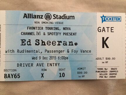 Ed Sheeran Sold out Sydney Concert 9th Dec 2015 Cammeray North Sydney Area Preview