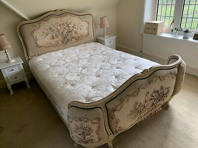 Antique Double Bed French Louis XV Corbielle Upholstered Vintage Carved Wood