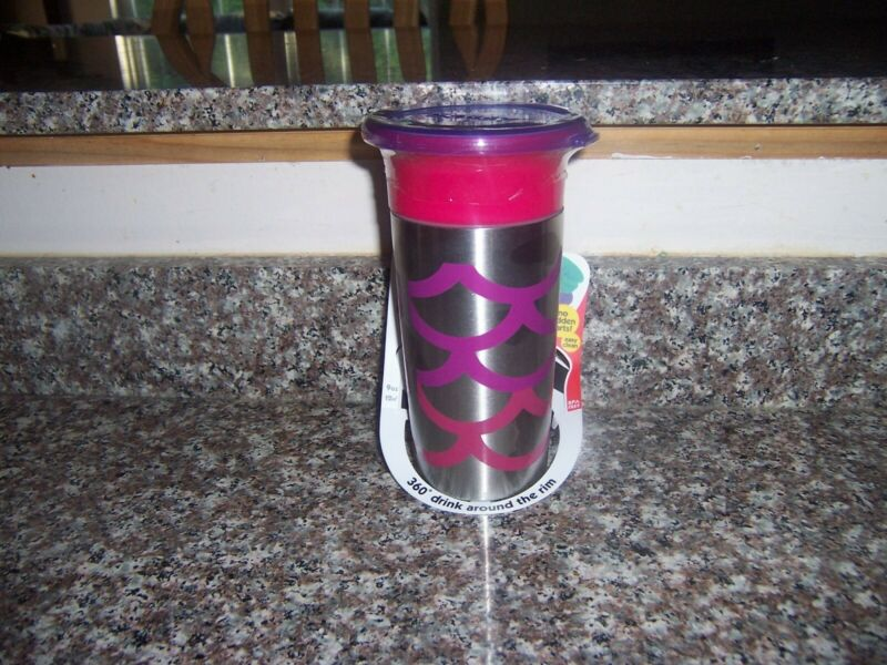 Sassy Stainless Steel 360 Grow-Up Sippy Cup with Travel Lid 9 oz pink purple