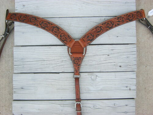 Bar H Tooled Leather Black Painted Breast Collar 23808