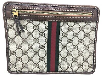 ESTATE Vtg GUCCI Lay-Flat TRAVEL Brown GG MONOGRAM Canvas Leather CLUTCH Italy