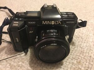 Minolta 7000 SLR 35mm Film Camera with Flash and 4 Lenses