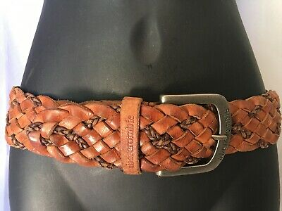 VTG Boho Hippy Abercrombie Fitch Wide 2 Tone Brown Braided Woven Leather Belt 34