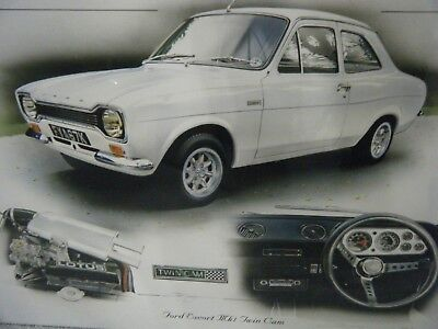 FORD ESCORT TWIN CA STUNNING LIMITED EDITION PRINT CHRIS DUGAN NEW FOR THIS YEAR