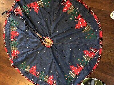 "Denim 48"" Christmas Tree Skirt w/ Appliqued Trees & Brass Star Studs"