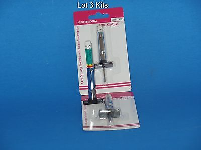3 Kits ColorTire Tread Depth Gauge standard metric gage guage 32nds and 25 MM