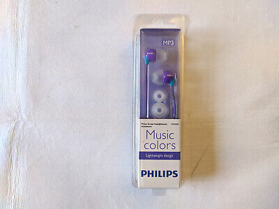 *NEW* Philips SHE3584 In-Ear Headphones Earbuds Music Colors (Purple) 3.5 mm