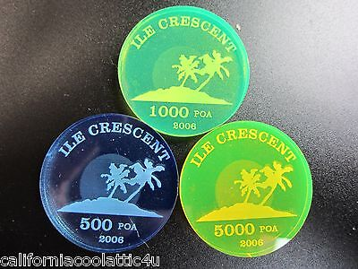 """ONLY434 MINTED! UNUSUAL BEAUTIFUL """"RARE ACRYLIC COINS"""" OF CRESCENT ISL."""