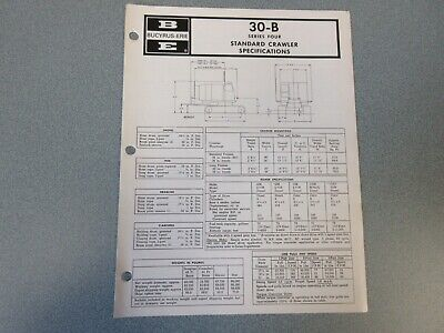 Rare Bucyrus-erie 30-b Crane Excavator Spec Information 1973