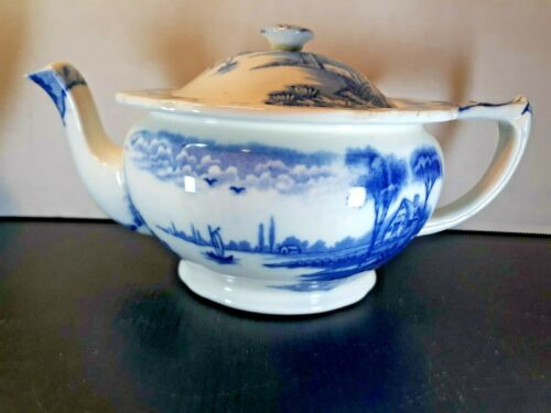 Antique Pottery Molded Teapot Claremont Tea Co. Maling Newcastle Blue & White