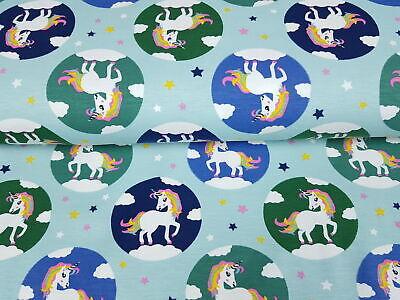 Jerseystoff Unicorn Einhorn Liebe mint blau grün