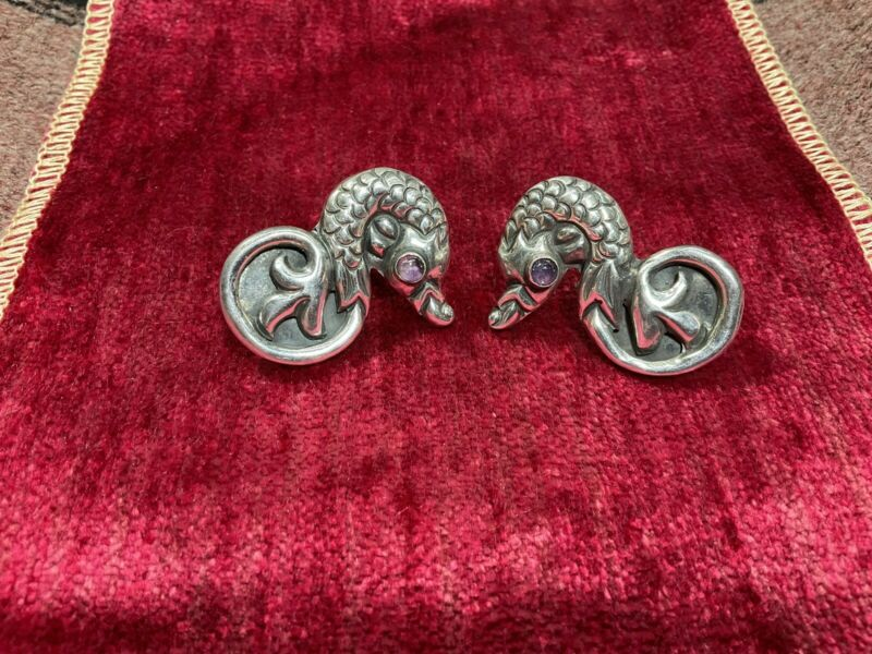 Vintage Early Taxco Mexican Sterling Silver Seahorse Dragon Amethyst Earrings NR
