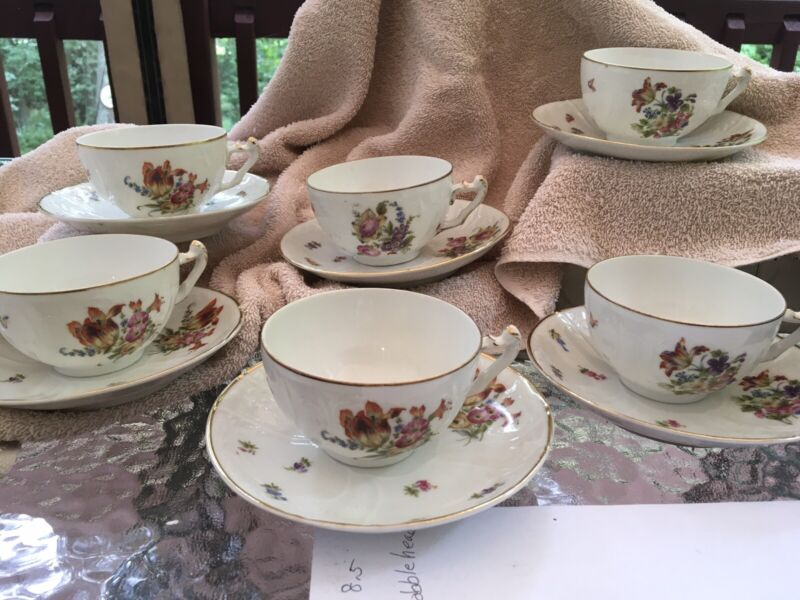 CROWN IMPERIAL H & C Czecho-Slovakia 6 CUPS & SAUCERS FLORAL & GOLD TRIM EUC