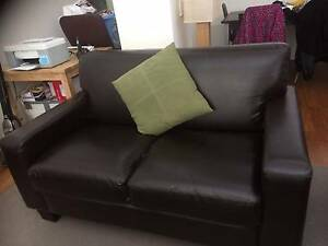 BROWN LEATHER TWO SEATER SOFA Melbourne CBD Melbourne City Preview