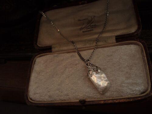 Vintage Freshwater Pearl Drop Necklace Filigree Cap. Adjustable Chain