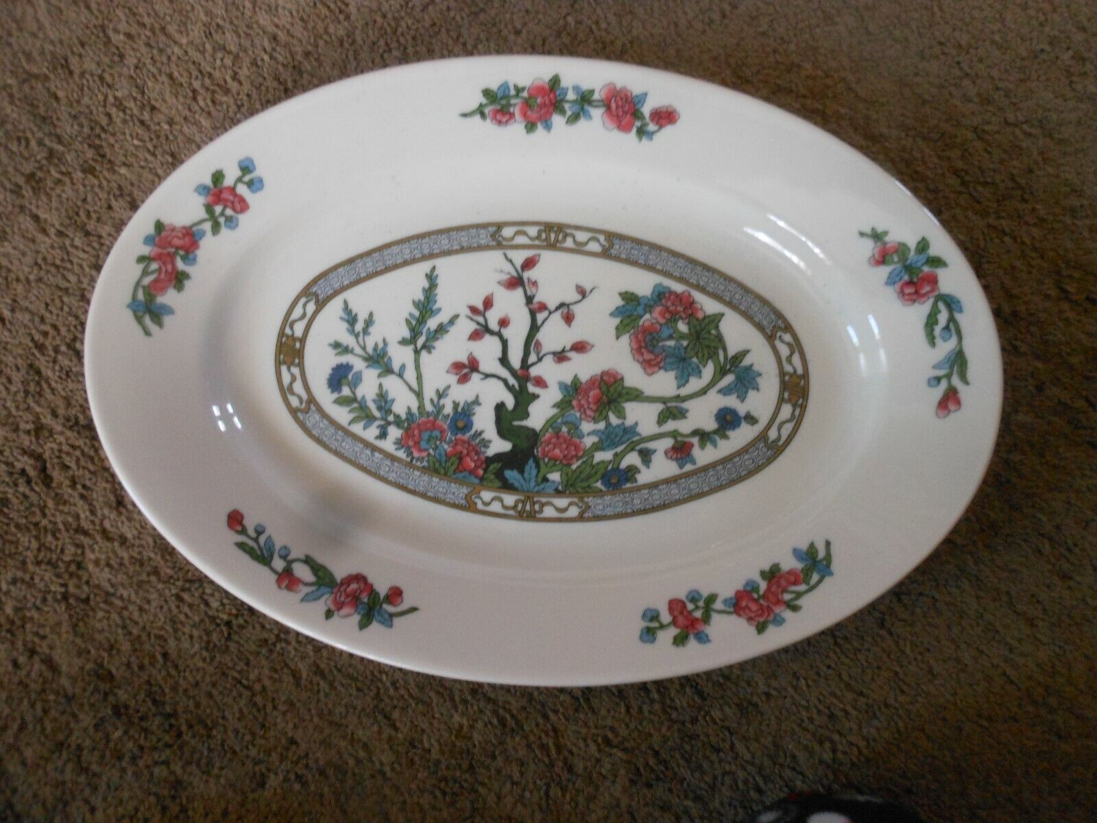 PRETTY IVORY LAMBERTON SCAMMELL CHINA SERVING PLATTER, HEAVY, USA MADE, FLOWERS
