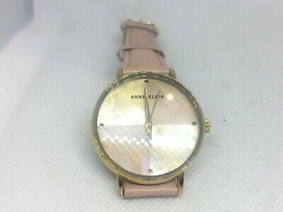 Anne Klein Women's AK/2790 Gold-Tone and Cream faded pink Leather Strap Watch