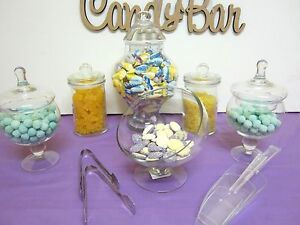 6-SET-BELLA-Candy-Lolly-Buffet-Glass-Jars-Wedding-Party-Free-Plastic-Tub-Scoops