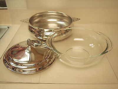MID CENTURY  SHEFFIELD SILVER CO. COVERED CASSEROLE & PYREX GLASS BOWL INSERT