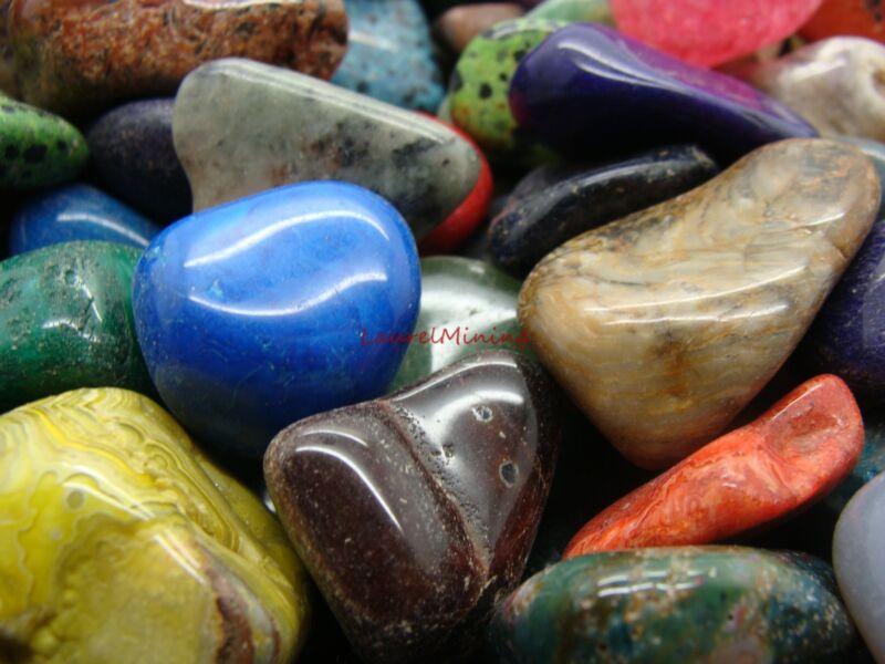 Size #6 - XLarge Tumbled Polished Gemstones - 1000 Carats Lots + Free Gift