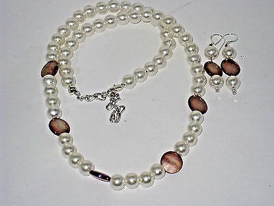 Best Selling Pearl & mother of pearl Necklace with Earrings Set (Best Mother Of Pearl Earrings)