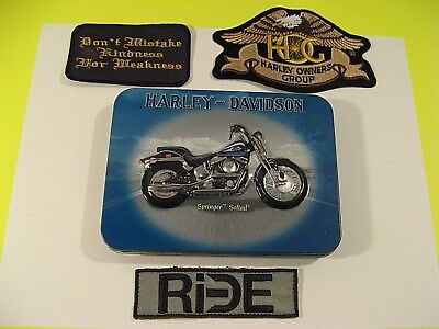 HARLEY DAVIDSON SPRINGER-SOFTAIL TIN,PLAYING CARDS AND PATCHES/CARDS ARE UNOPEN