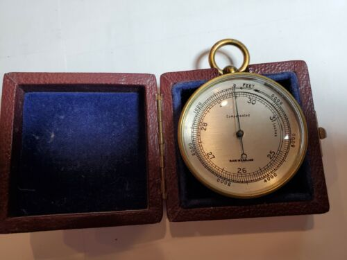 A Nice  Cased Brass Compensated Pocket Barometer Made in England