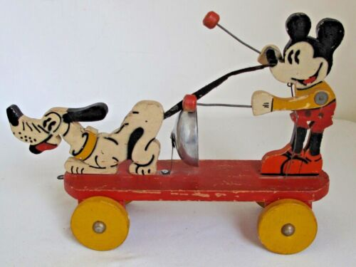 Early Mickey Mouse and Pluto Stencil Painted Wood Pull Toy