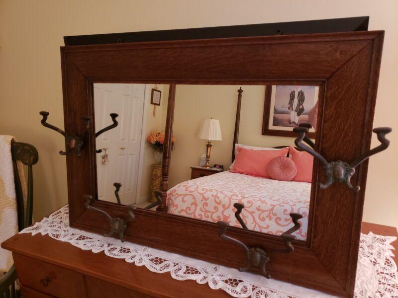 Antique Oak Hanging Hall Mirror With Hat Hooks Original Finish