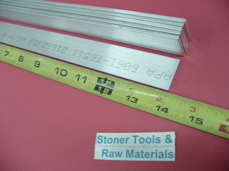 "6 Pieces 1/8"" X 1"" ALUMINUM FLAT BAR 14"" long 6061 T6511 New Extruded Mill Stock"
