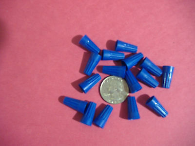 Lot Of 25 Small Blue Wire Connectors Twist On Conical Nut Nuts