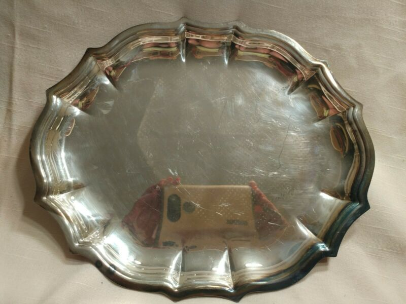Chippendale International Silver Company Plate 6342 Dish Serving Platter Vintage
