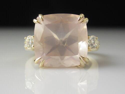 Rose Quartz Diamond Ring 14K Yellow Gold Pink 5.75ctw Estate Double Prongs